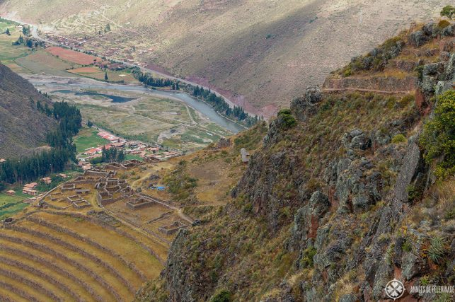View of the Qalla Q'asa inside Pisac ruins and the Sacred Valley of the Incas below