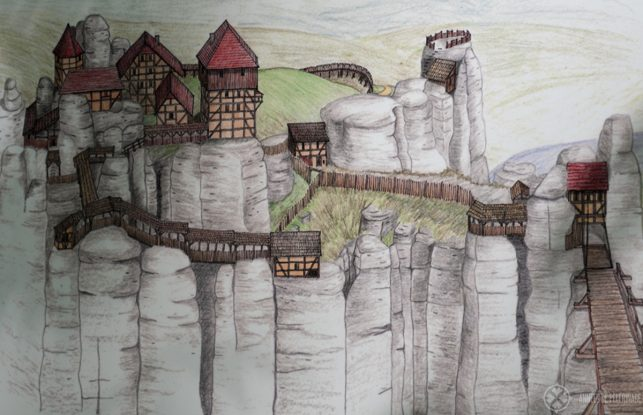 A sketch of how Castle Neurathen once looked like