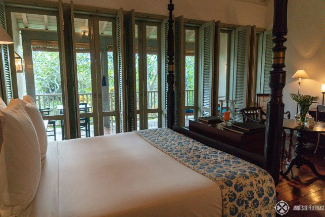 The big beds at Amangalla luxury hotel in Galle, Dutch Fort, Sri Lanka