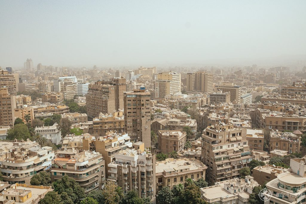 A sandstorm over Cairo in March - Spring is one of the best times to visit Egypt, but the sky is often dusty/cloudy