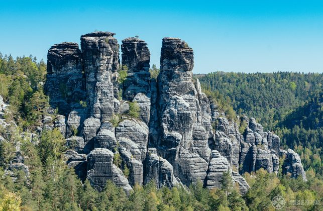 Impressive rock formations on the other side of the Bastei bridge