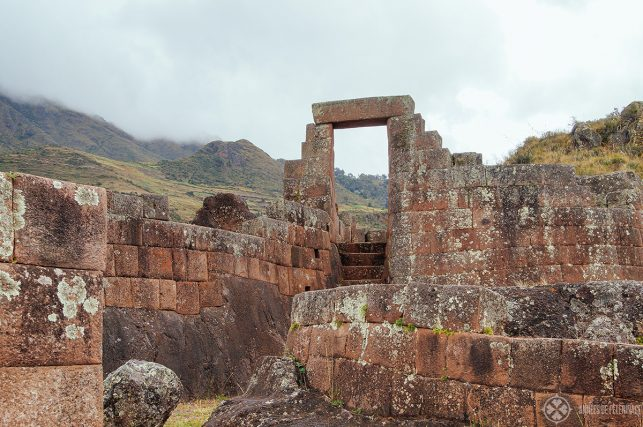 The entrance portal to the temple of the sun in Pisac, Peru