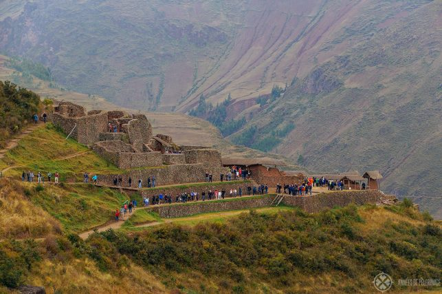 Tourists in the urban sector of the Pisac ruins only a short day trip from Cusco, Peru