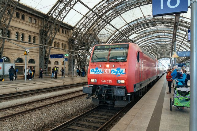 The train to Pirna from Dresden main station - the S2 leaves every 20 minutes