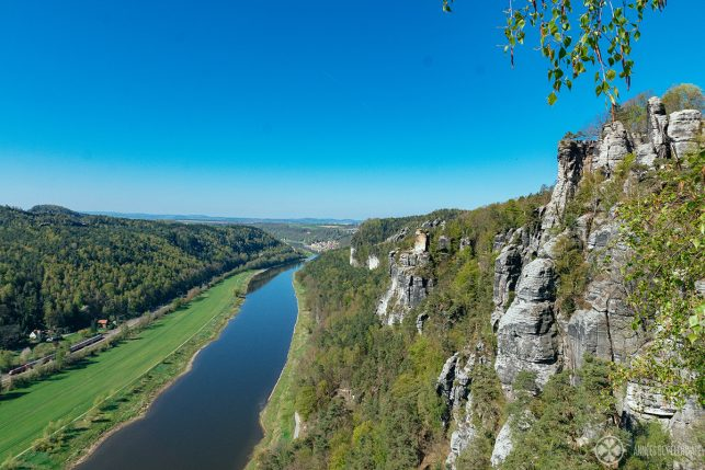 The magnificient valley of the River Elbe as seen from Bastei Bridge