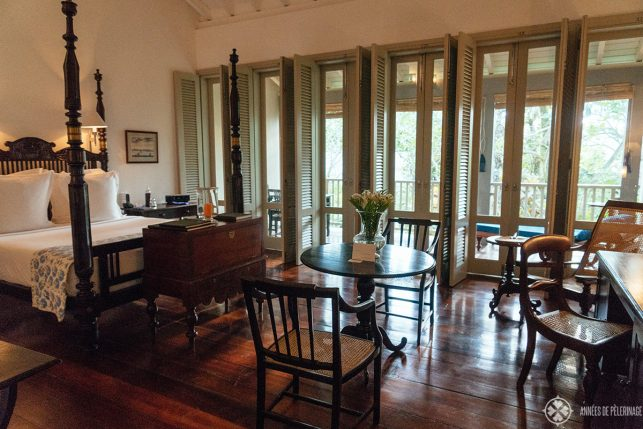 Inside the Verandah Chamber of the Amangalla luxury resort in Galle, Sri Lanka