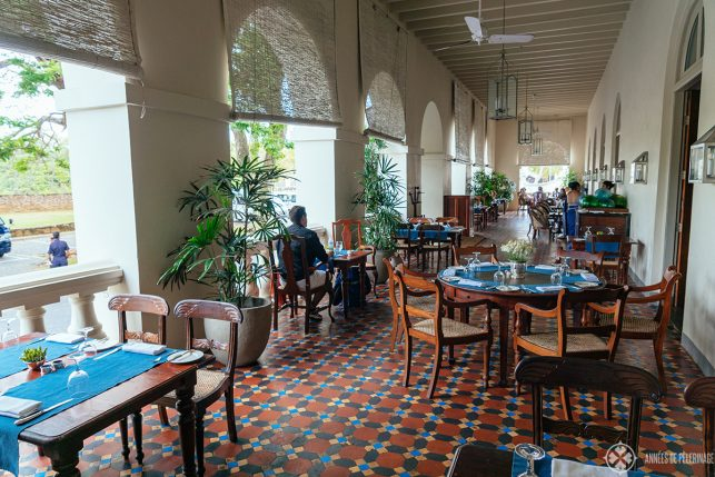 The verandah of Amangalla luxury hotel in Galle where breakfast, lunch and dinner is served - this is truly the best hotel in Sri Lanka