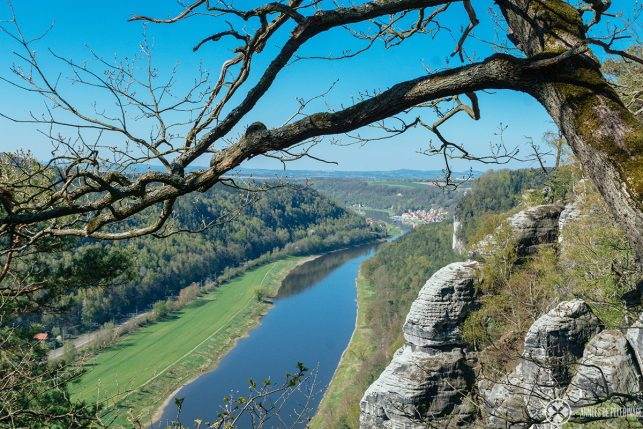 View of the River Elbe from bastei bridge