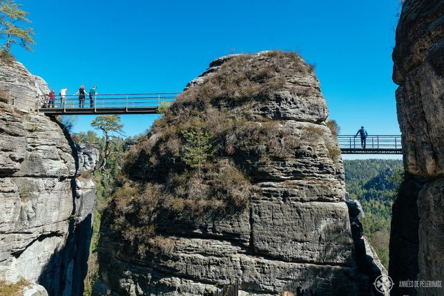 The iron walkways near Bastei Bridge in Saxon Switzerland