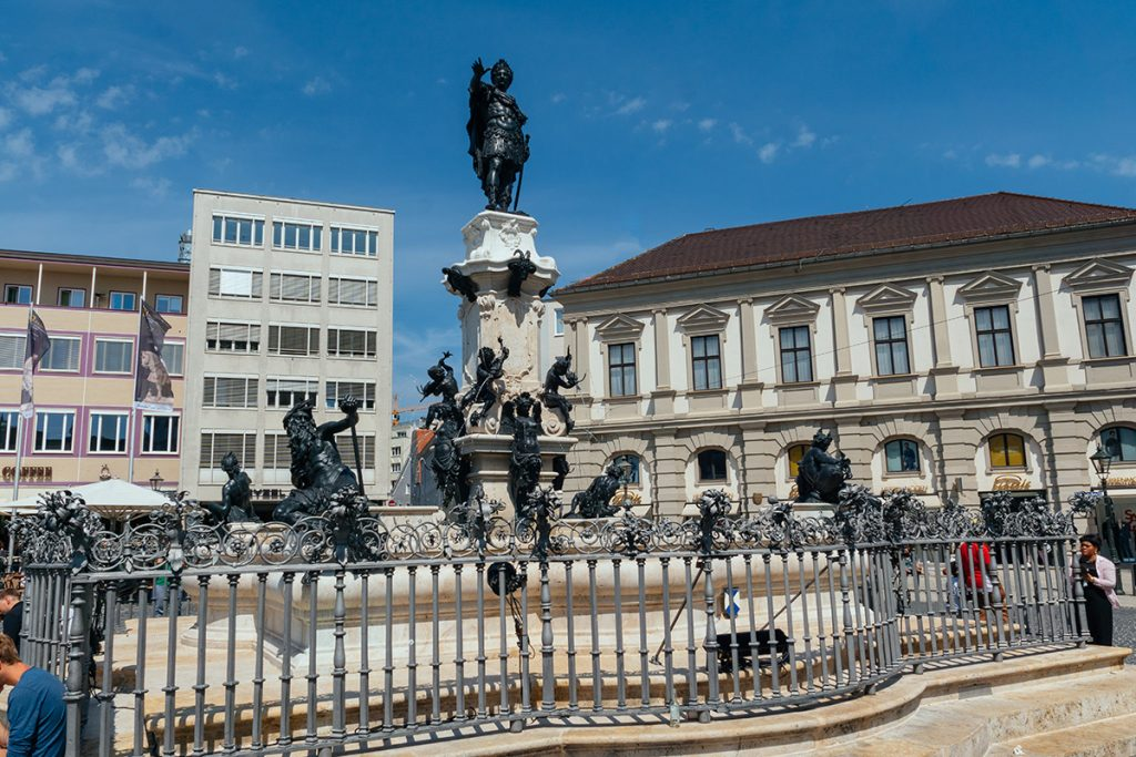 The Augustus fountain on the main square in Augsburg, Germany