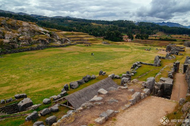 View of the central plaza of Sacsayhuamán Inca ruins in Cusco, Peru