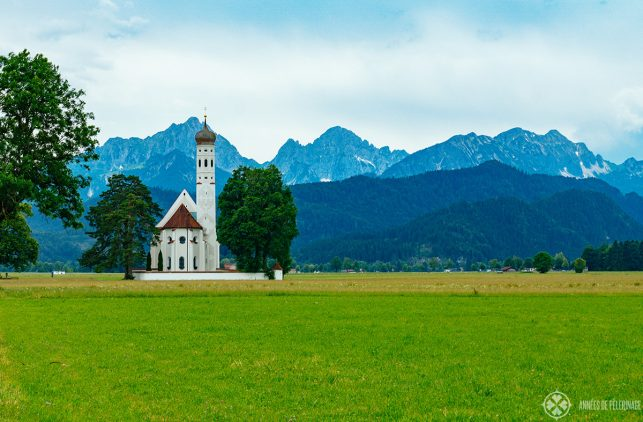 A small church near Füssen with the Bavarian alps in the background