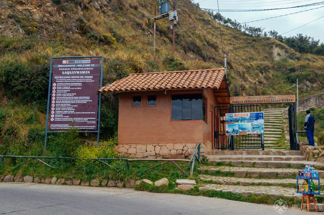 The main entrance & ticket office of Sacsayhuaman in Cusco, Peru