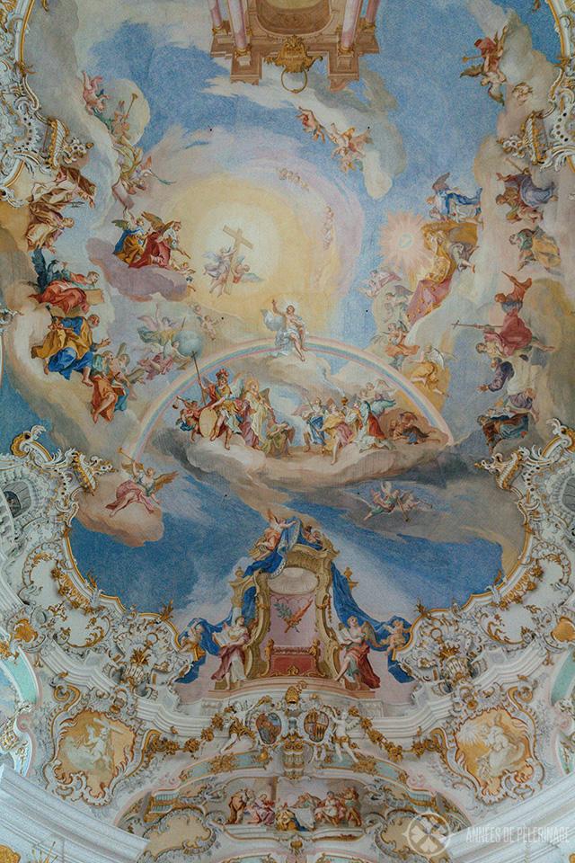 The Frescos by Johann Baptist Zimmermann inside the Wieskirche in Steingaden, Bavaria