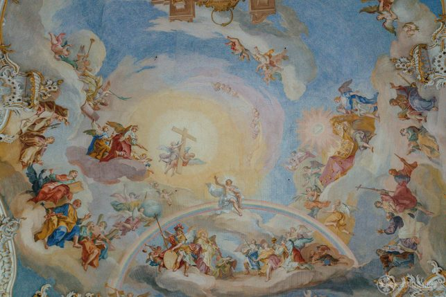 Frescos inside the Wieskirche, only a short day trip from Munich away and quite close to Neuschwanstein