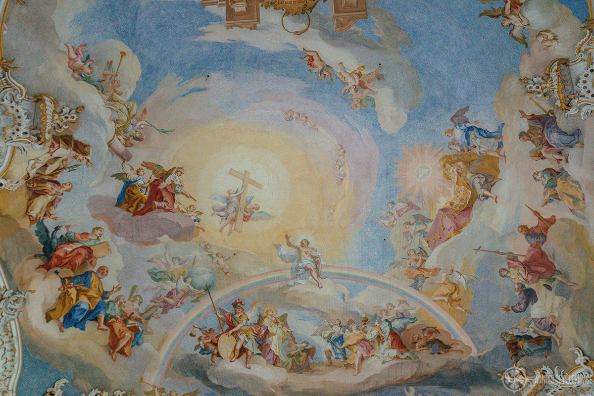 Frescos inside the Wieskirche, only a short day trip from Munich away and quite close to Neuschwanstein