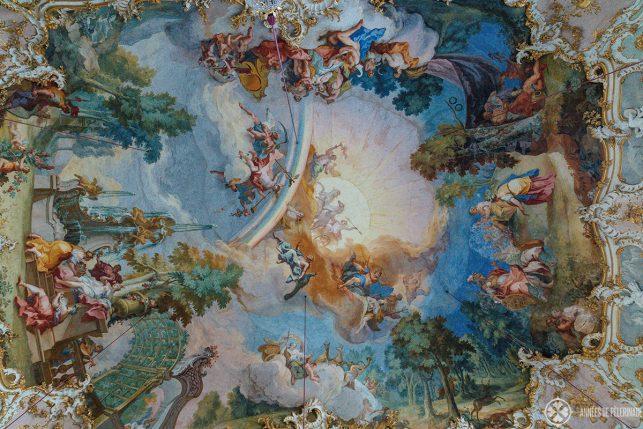 The world famous fresco by Johann Baptist Zimmermann inside the Steinerner Saal in Nymphenburg palace, Munich