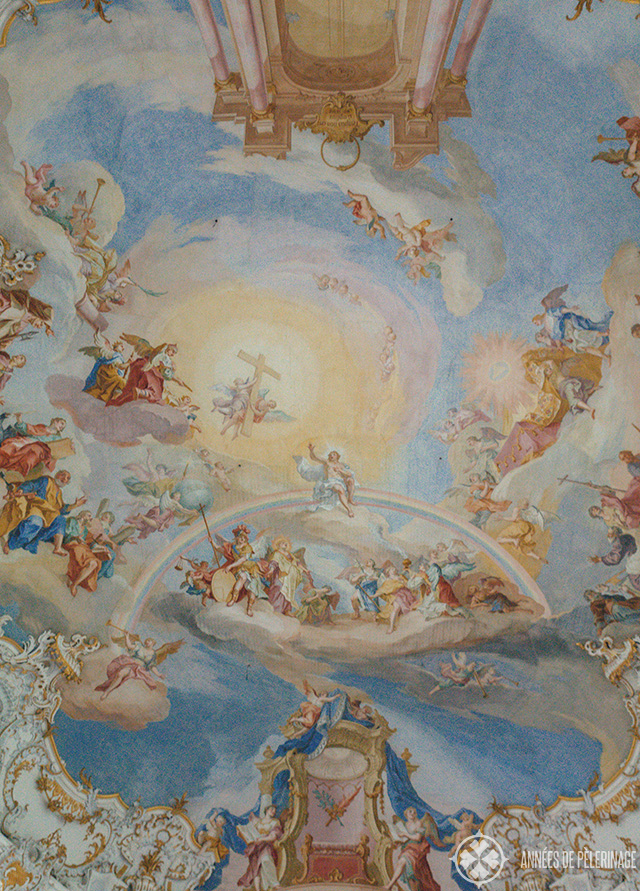 The remarkable rococo fresco inside the Church of Wies in Steingaden, Germany