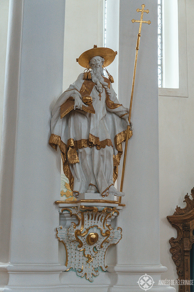 A statue of a saint inside the Church of Wies in Steingaden, Bavaria