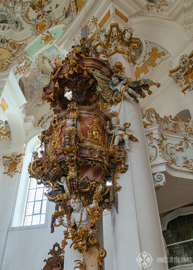 The pulpit of the Church of Wies with its many white putto crowding every inch