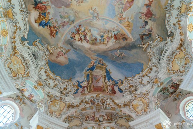 gilded stucco decorations surround the fresco on all sides. These were created by Dominikus Zimmermann
