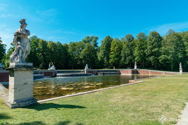 The grand cascade at the far end of the park of Nymphenburg palace