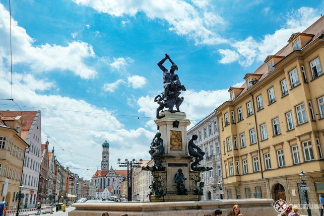 The iconic Hercules fountain on the main street of Augsburg - part of the UNESCO World Heritage site