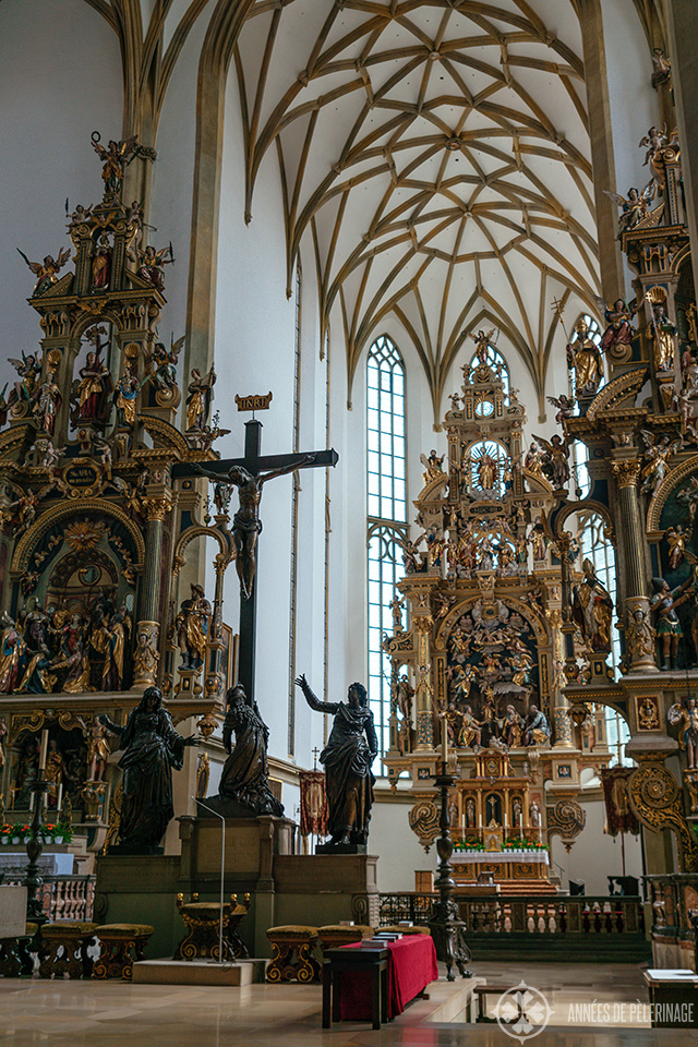 The golden gothic High altar of St. Ulrich cathedral