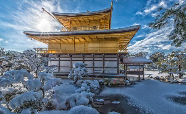 The golden temple Kinkaku-ji in Kyoto in winter