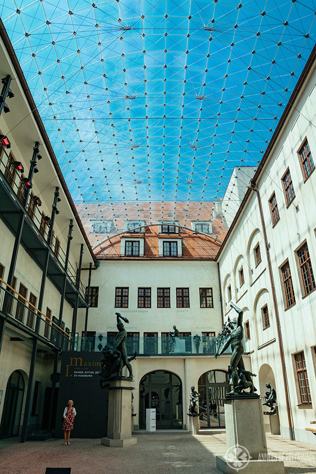 The roofed hall with the bronze sculpture collection inside the Maximilianmuseum in Augsburg