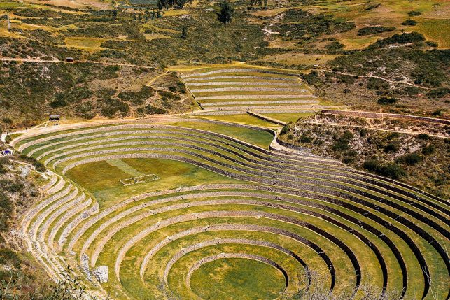 The agricultural terraces of the Moray ruins in Peru