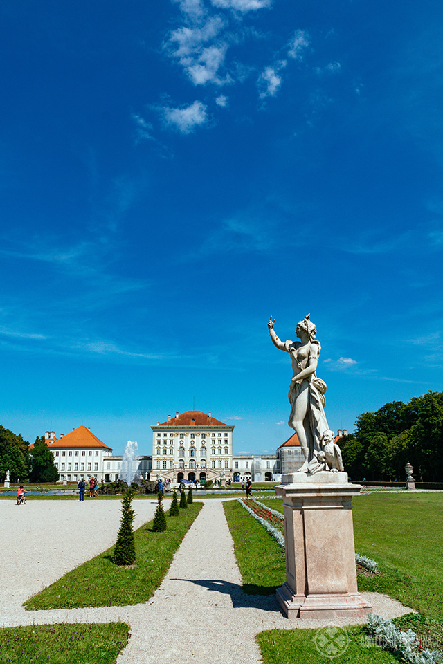 Nymphenburg palace in Munich as seen from the park on the backside
