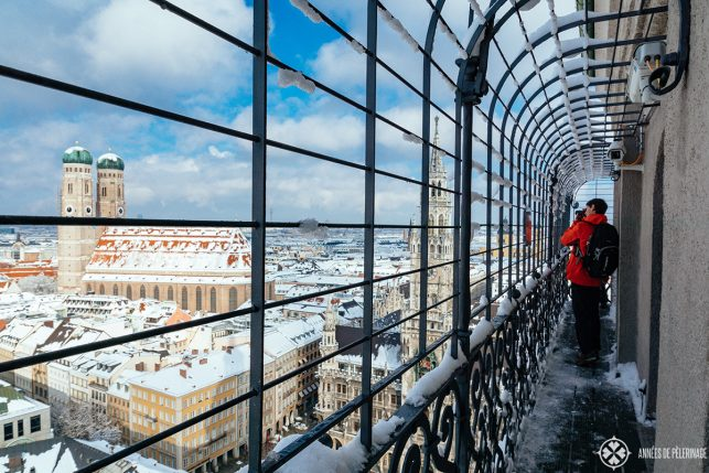 The caged viewing platform at the top of St. Peter's Church in Munich