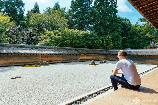 Me enjoying a zen-moment at Ryoan-ji temple in Kyoto, Japan