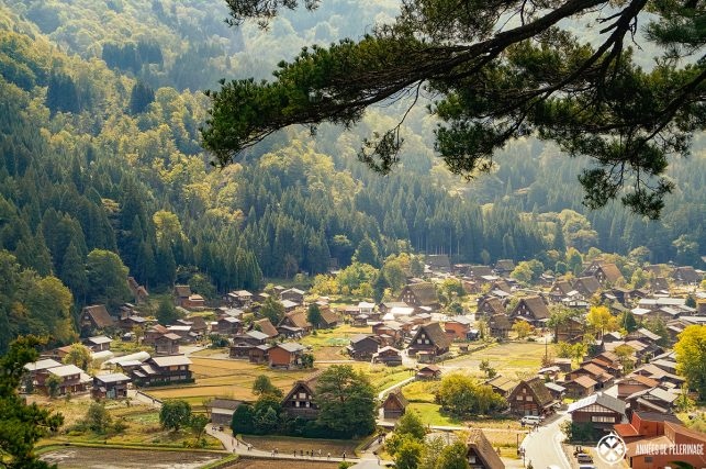 The UNESCO World Heritage village of Shirakawa-go as seen from above