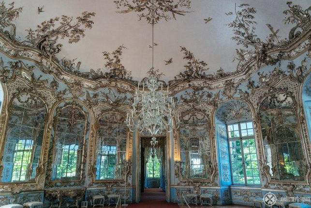 The grand silver ballroom inside the Amalienburg in Nymhenburg palace