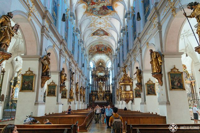 Inside St. Peter's church in Munich