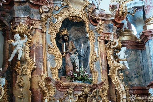 The statue of the Scourged Savior of Wies - a famous pilgrimage church in Bavaria, Germany
