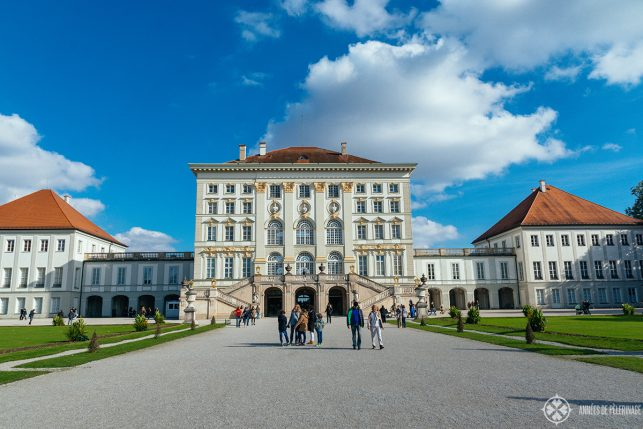 Back view of Nymphenburg palace in Munich, Germany