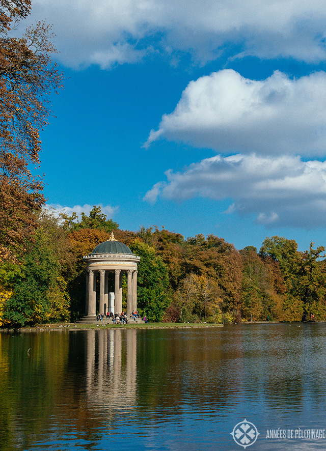 The temple of Apollo at the far back of the park of Nymphenburg palace in Munich