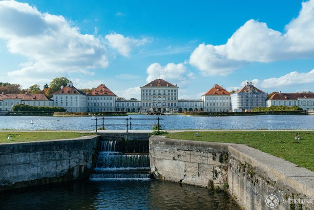 View of Nymphenburg with the artificial water channels in front