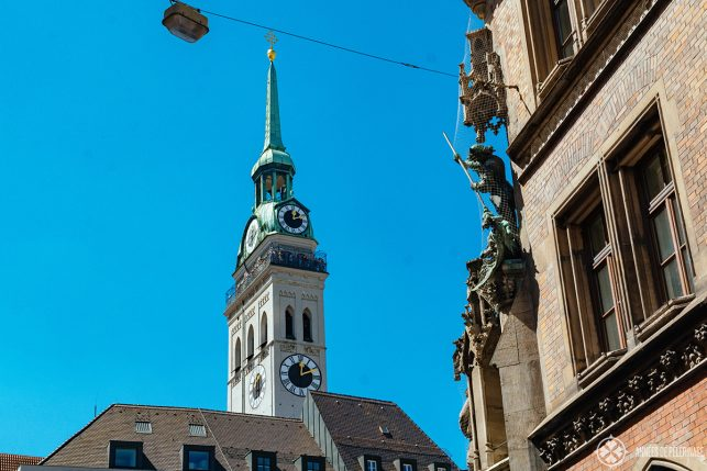 The clock tower of St. Peter's church in Munich - the viewing platform offers the best view in Munich