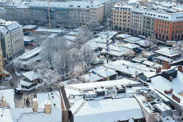 View of Viktualienmarkt in winter from the church tower of St. Peter's churchin Winter