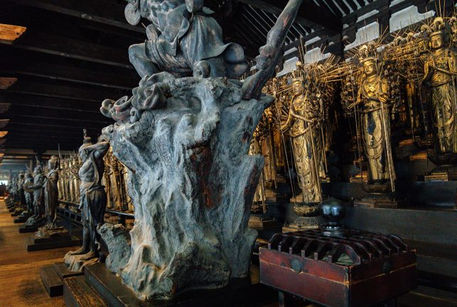 Inside the Sanjūsangen-dō  temple in Kyoto where 1001 kanon statues are houses