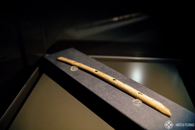 "The outstanding prehistoric Geierknochenflöte ( ""Vulture Bone Flute"") at the URMU museum in Blaubeuren"