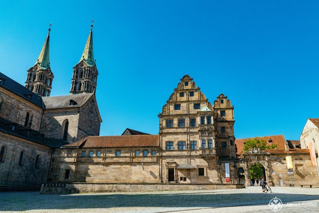 Entrance to Bamberg's Old Court (Alte Hofhaltung) next to the Cathedral