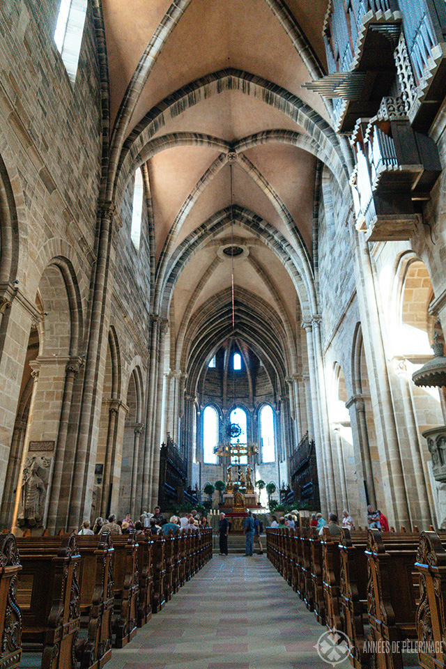 View along the main aisle of Bamberg Cathedral - a unique UNESCO World Heritage site