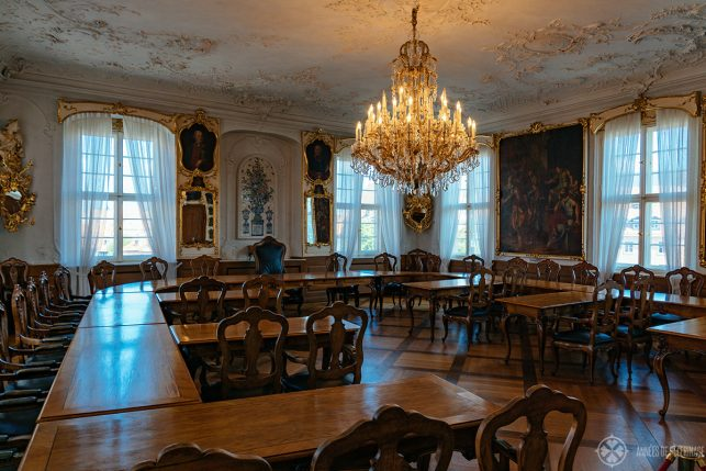 The fancy Rococo style courtroom on the second floor of the old town hall in Bamberg