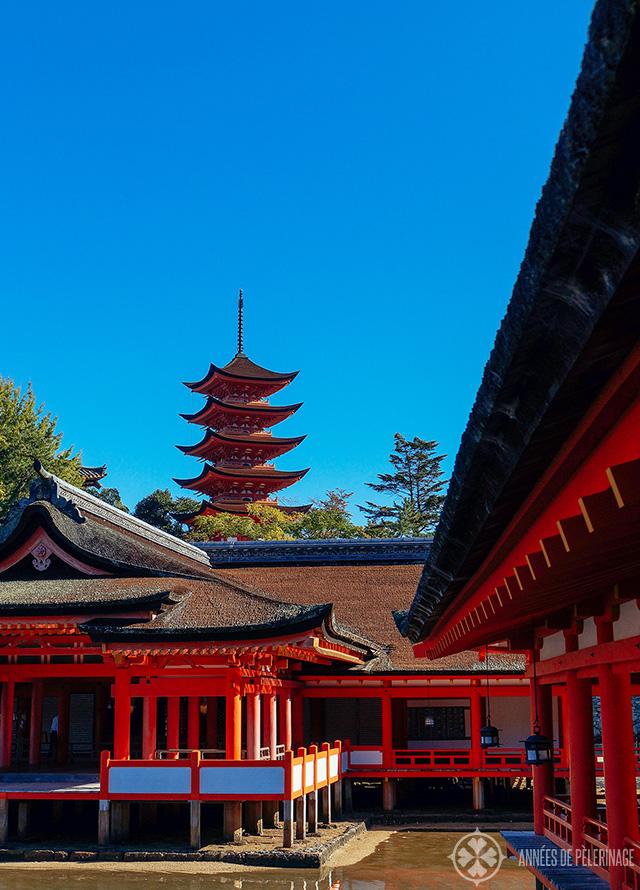 The itsukushima Shrien on Miyajima with the pagoda in the background