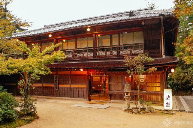 The main building of the Iwaso Ryokan on Miyajima Island